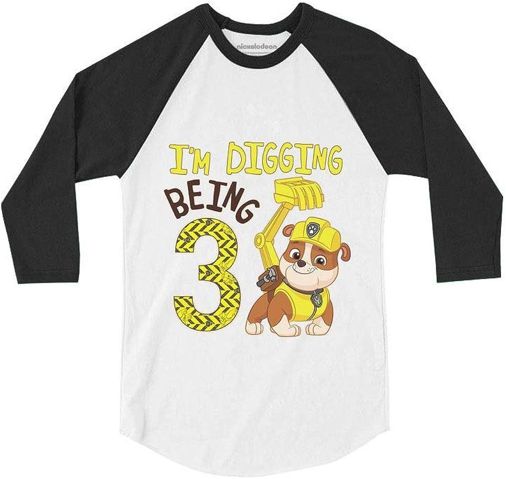 Tstars Paw Patrol Rubble Digging 3rd Birthday 3//4 Sleeve Baseball Jersey Toddler Shirt