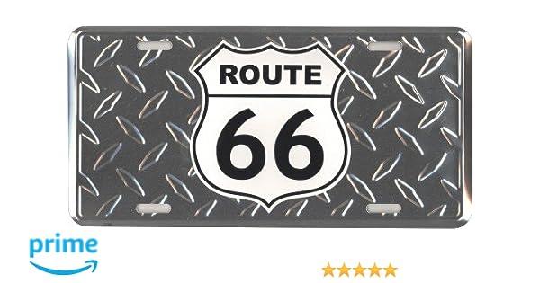 """Rte 66 Route 66 Diamond 6/""""x12/"""" Aluminum License Plate Tag"""