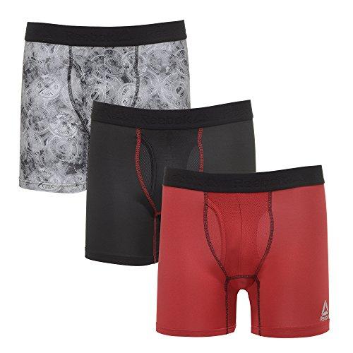 (Reebok Mens 3 Pack Performance Boxer Briefs Black/Camo Weights/Biking Red S)