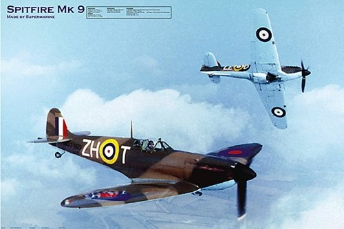 Spitfire mk 9 - MAXI LAMINATED/ENCAPSULATED POSTER - Measure