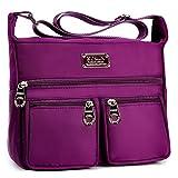 Crossbody Purse,Womens Nylon Purple Medium Organizer Pack Crossbody Bag by ZYSUN