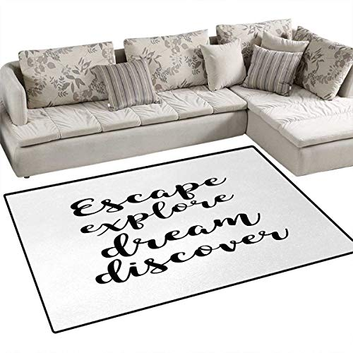 Explore,Floor Mat,Hand Drawn Brush Calligraphy Quote Escape Explore Dream Discover Lettering,Small Rug Carpet,Black and White,48