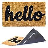 Welcome mat | Hello Door mat for Front Door | Entryway Outdoor Floor mat | Cursive Hello mat with Fun 'Looking for Hidden Keys?' Print on The Back | Natural Coconut Coir | Brown Mat with Black Font |