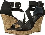 CHARLES BY CHARLES DAVID Women's Leanna Wedge Sandal, Black Microsuede, 8.5 M US