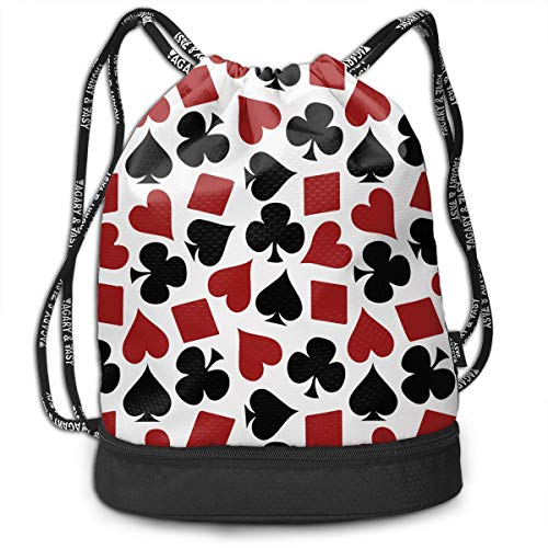 OLOSARO Drawstring Bag Playing Card Suit Casino Pattern Shoulder Bags Travel Sport Gym Bag Print - Yoga Runner Daypack Shoe Bags with Zipper and Pockets]()