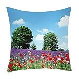 Pgojuni Fresh Style Scenery Printing Pillowcase Fashion Pillow Case Polyester Sofa Car Cushion Cover Home Decor Cover Pillow Case1pc (45cm X 45cm) (A)
