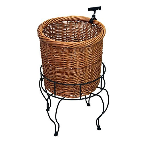 1-Tier Round Willow Basket Display with Sign Clips by Mobile Merchandisers