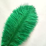 ADAMAI 150PCS Natural 13.7-15.7inch Ostrich Feathers Plume for Wedding Centerpieces Home Decoration (dark-green)