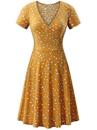 MSBASIC Women's Deep V Neck Short Sleeve Unique Cross Wrap Casual Flared Midi Dress (XX-Large, Yellow - Cross Dress Front Knit
