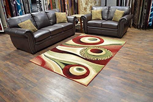 Premium 3D Effect Hand Carved Modern 8 X10 Contemporary Rug 1504 Burgundy by Artistry Rugs