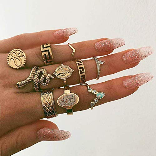 Nicute Boho Gold Rhinestone Stackable Joint Knuckle Ring Vintage Snake Carving Finger Rings Set for Women and Girls(10 - Stackable Gold
