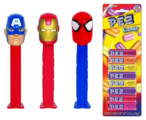 PEZ Marvel (Bundle of 4 Items) - 3 Marvel Dispensers, and a Pack of 8 PEZ Candy Refills