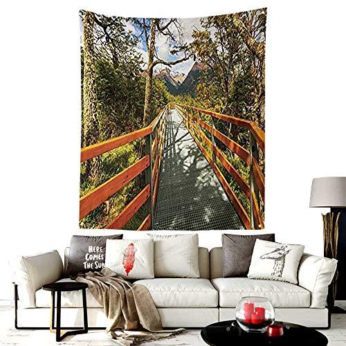 - Custom Pattern Peruvian Tapestry,Wooden Boardwalk in Forest Wilderness Getaway Footpath Summertime Hike,Headboard Wall Hanging Home Decor,30W X 40L Inches Orange Green Brown