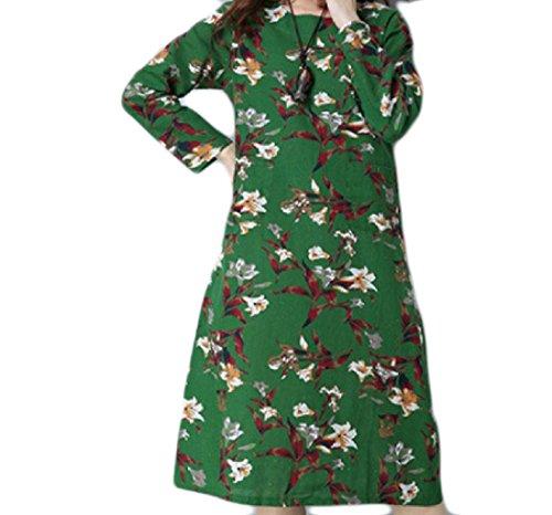 Cinese Che Stile Più donne Il Metà Pattern3 Stampati Abito Coolred Elegante Di Lunghezza Formato 0n0wUaCq