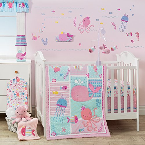 Bubbles 6 Piece Crib Bedding - Bedtime Originals Sugar Reef Aquatic 3 Bedding Set, Pink/Blue