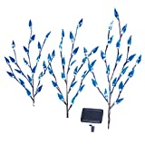 Collections Etc Leaf Branch Solar Garden Lights - Set of 3, Blue, 60