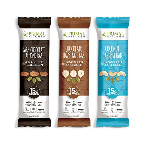 Primal Kitchen – Coconut Cashew, Dark Chocolate and Hazelnut Protein Bars, Variety 3 Pack – Made with Grass–Fed Collagen (Protein), Hazelnuts & Organic Fair–Trade Cocoa (18 Bars Total) by Primal Kitchen (Image #8)