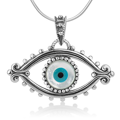 925 Oxidized Sterling Silver Evil Eye Lucky Eye Hamsa Protection Amulet Pendant Necklace, 18