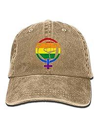 Jiuyuan Feminist Symbol LGBT Resist Pride Fist Rainbow Flag Vintage Baseball Cap Dad Hat