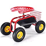 Giantex Garden Cart Rolling Tray Gardening Planting with Work Seat and Basket Outdoor Work Cart on Wheels Red