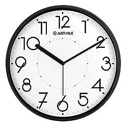 Decorative Silent Non Ticking Modern Wall Clock - 13 Black Frame/Black Hands …
