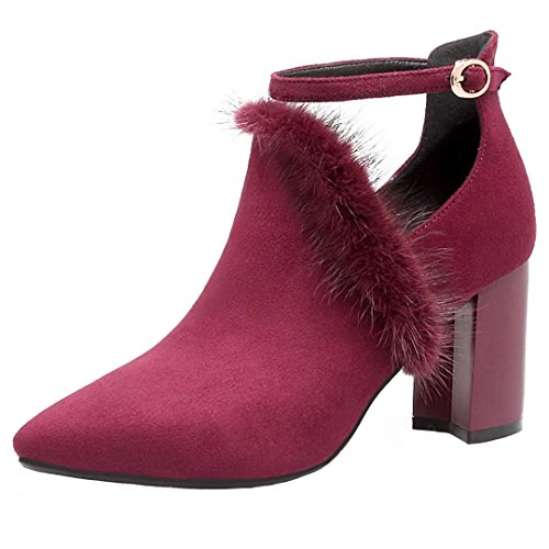 AIYOUMEI Womens Block Heel Pointed Toe Booties Autumn Winter Ankle Boots with Fur and Buckle Winered luZJ5D6V