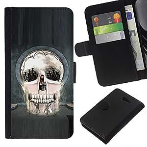 KLONGSHOP // Tirón de la caja Cartera de cuero con ranuras para tarjetas - Cráneo gótico del arte abstracto - Sony Xperia M2 //
