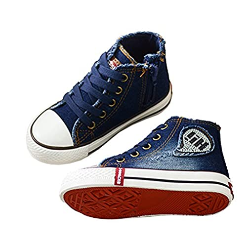 Toddler//Little Kid//Big Kid iDuoDuo Kids Fashion Slip On Canvas Shoes Unisex High Top Sneakers