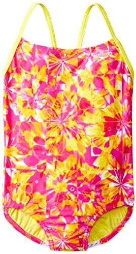 Speedo Big Girls' Tie Dye Blaze Keyhole One Piece, Pink, 8
