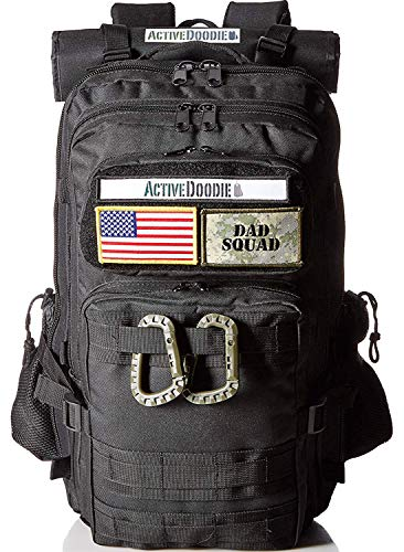 Active Doodie Dads Diaper Bag Backpack, Waterproof Tactical Style Baby Bag for Men, Stroller Straps, Changing Pad, Military Inspired (Dad Squad Velcro Patches, Black, Large) (Dadgear Diaper Bag)