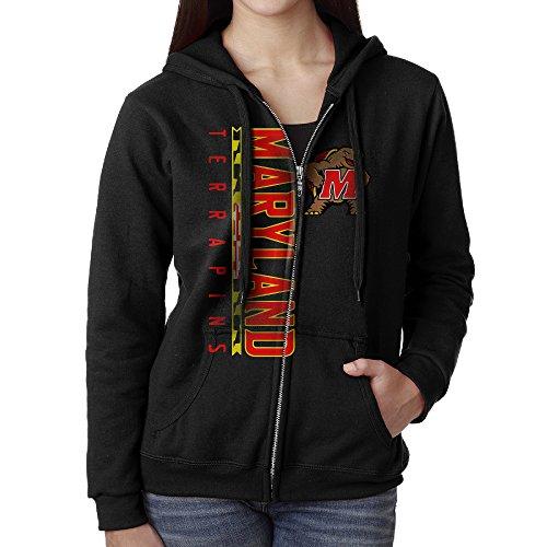YUNIEFA Women's Maryland University Full Zip Hoodies Jackets Black Size XL