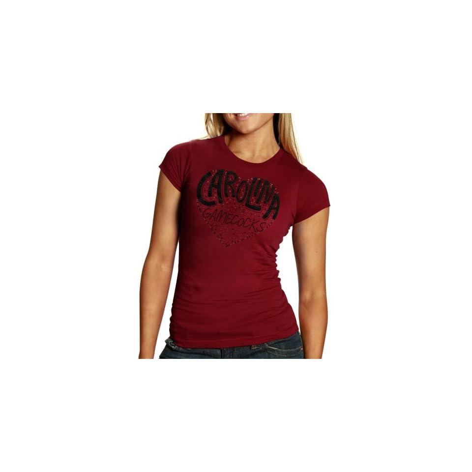 NCAA South Carolina Gamecocks Ladies Glitter Heart T Shirt
