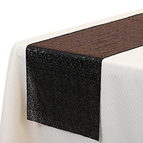 VEEYOO 14x108 inch Sparkly Glitter Sequin Table Runner - Wedding Party Dining Kitchen Cloth Linens, Black