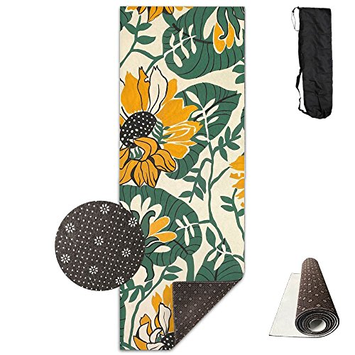 Non Slip Yoga Mat Sunflowers Painting Premium Printed 24 X 71 Inches Great For Exercise Pilates Gymnastics Carrying Strap