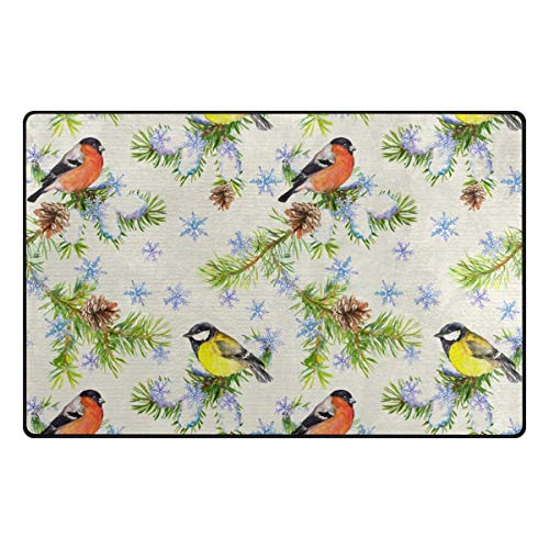 - Fantasy Star Play Mat for Kids - Cardinal Bird Snowflakes Doormat for Bedroom Kitchen Bathroom Decorative Lightweight Foam Rug - Baby Mats for Playing/Crawling - 5' x 8'