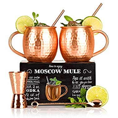 Moscow Mule Kit with Free Extras - Set of 2 Moscow Mule Copper Mugs - 100% Solid Copper Hammered Cups 16oz - Unique Extras: Jigger, Stirrer And Two Straws – Premium Quality – By Shoko Moscow