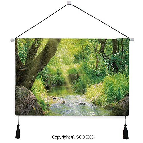 - SCOCICI Durable Material Multipurpose W24xL17inch Wall Hanging Tapestry Stream Cascade in Tropical Forest Among Trees Jungle Woodland Serene Landscape Decorative Decorative Painting Living Room Paint