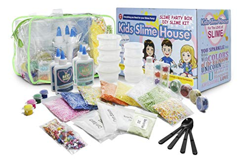 Slime KIT with All Slime Supplies Makes Fluffy Slime Unicorn Slime Crunchy Slime DIY Slime KIT with and Slime CONTAINERS Beads Glitter Slime Charms Fun Gift for Girls and Boys