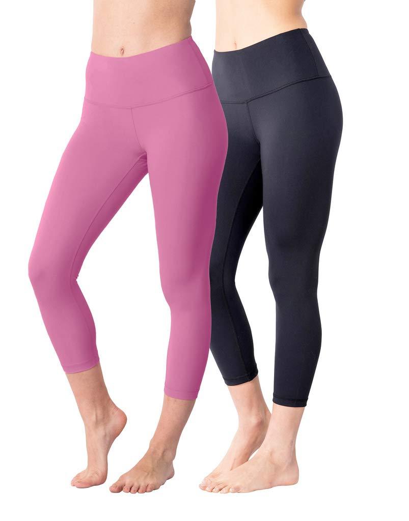 Yogalicious High Waist Ultra Soft Lightweight Capris - High Rise Yoga Pants - Black and Lychee Pink 2 Pac k - XS