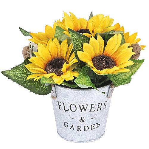 Artificial Sunflowers Pot, Silky Artificial Flower Daisy Metal Pot Bonsai, Artificial Flowers in Metal Potted, Silk Gerbera Bouquet with Vase for Garden Wedding Centerpieces -