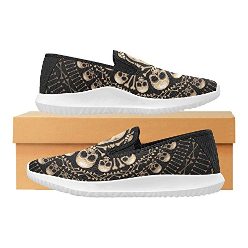 Interestprint Hodeskaller Og Bein Kvinners Slip-on Loafer Sko Lerret Mote Joggesko Multi 1