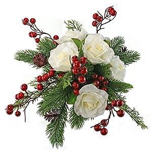 Winter Berry Rose Bridal Bouquet - Silk Wedding Flower - Ivory & Red- 12 in. round 8