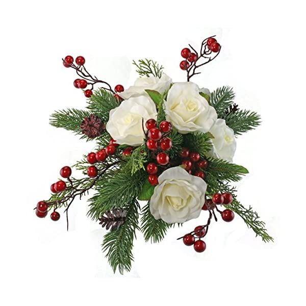 Winter Berry Rose Bridal Bouquet + Matching Boutonniere – Silk Wedding Flower – Ivory & Red- 12 in. Round