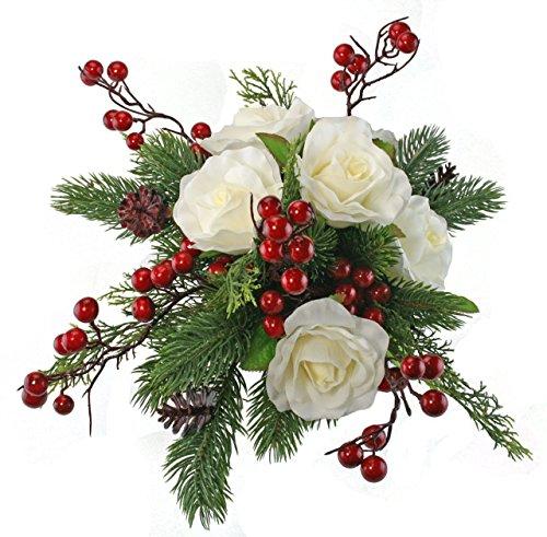 Winter Berry Rose Bridal Bouquet - Silk Wedding Flower - Ivory & Red- 12 in. (Winterberry Bouquet)
