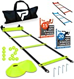 Kyпить Pro Agility Ladder and Cones - 15 ft Fixed-Rung Speed Ladder with 12 Disc Cones for Soccer, Football, Sports Training - Includes Heavy Duty Carry Bag, 4 Metal Stakes, 2 Agility Drills eBooks (Yellow) на Amazon.com