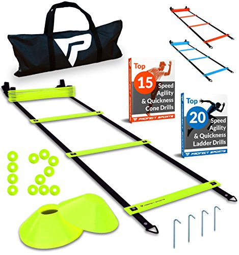 Step Ladder Training - Pro Agility Ladder and Cones - 15 ft Fixed-Rung Speed Ladder with 12 Disc Cones for Soccer, Football, Sports Training - Includes Heavy Duty Carry Bag, 4 Metal Stakes, 2 Agility Drills eBooks (Yellow)