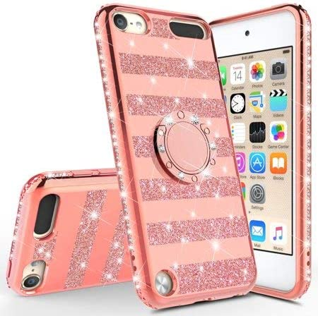 Tempered Glass Screen Protector Purple iPod 6//5 Case Cases for New iPod Touch Case,iPod Touch 6 Case Glitter Bling Sparkle Ring Stand Case Compatible for Apple iPod Touch 5//6th//New iPod Touch