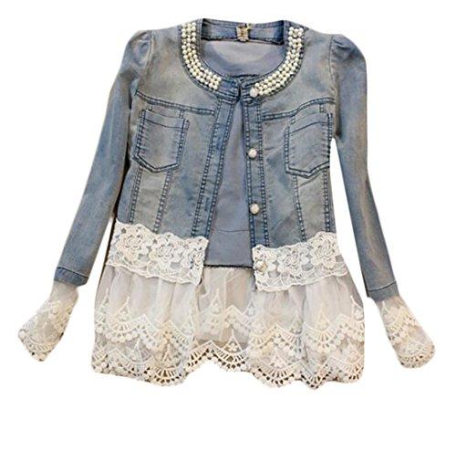 KLJR Womens Classic Long Sleeve Lace Spliced Boyfriend Denim Jacket for sale