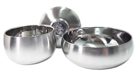 Vacuum Insulated Double Wall Skin Stainless Steel Round Korean Traditional Rice Bowl Soup Bowl Set.  sc 1 st  Amazon.com & Vacuum Insulated Double Wall Skin Stainless Steel Round Korean Traditional Rice Bowl Soup Bowl Set.Metal Dinnerware