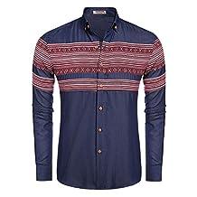 HOTOUCH Men's Solid Button Down Shirts Long Sleeve Casual T-Shirt Dark Blue XXL